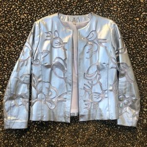 Chico's metallic silver cut out leather jacket 1